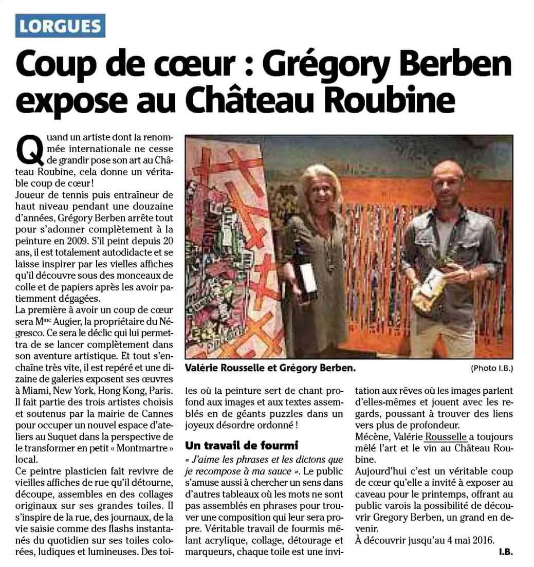 Var Matin revient sur l'exposition Grégory BERBEN au Château ROUBINE